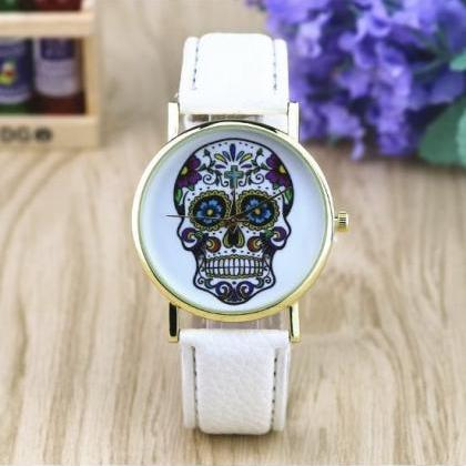 Suger Skull Face Leather Watchband ..