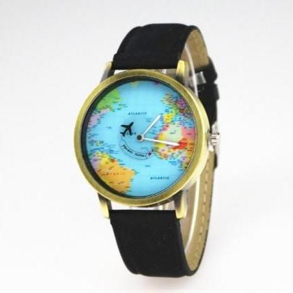 Vintage World Map Face Leather Watc..
