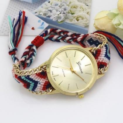 Retro Colorful Weave Band Quartz Wa..