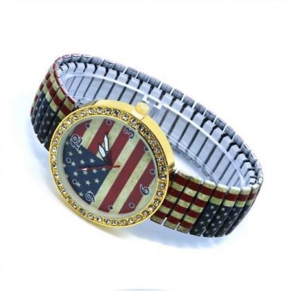 US Flag Stainless Steel Band Unisex..