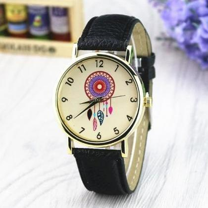 Catch Dream Retro Quartz Watch Leat..