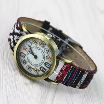 Ethnic Style Retro Quartz Watch Lea..