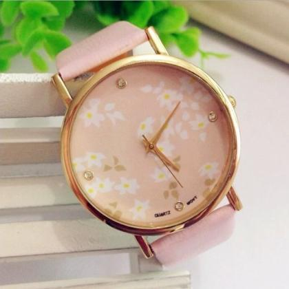 Pink Face Flower Leather Watchband ..