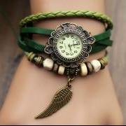 Handmade Leather Strap Watches Woman Girl Quartz Wrist Watch Bracelet Watch Green