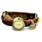 Golden Pendant Leather Band Women Girl Lady Quartz Clock Wrist Watches Dark Brown