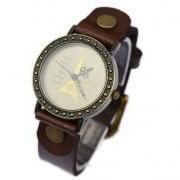 Handmade Vintage Eiffel Tower Pattern Analog Watches Leather Band Woman Girl Quartz Wrist Watch Dark Brown