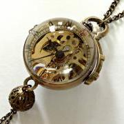 Handmade Vintage Crystal Ball Mechanical Pocket Watch Necklace With Pearl Pendant