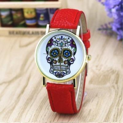 Handmade Vintage Suger Skull Face Leather Watchband Unisex Wrist Watch For Men Lady Retro Round Quartz Red