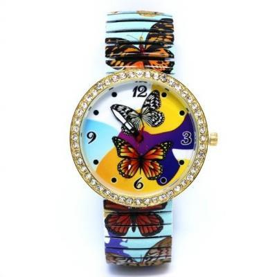 Vintage Butterfly Face Stainless Steel Band Unisex Wrist Watch For Men Lady Retro Round Quartz Watch Pattern 3