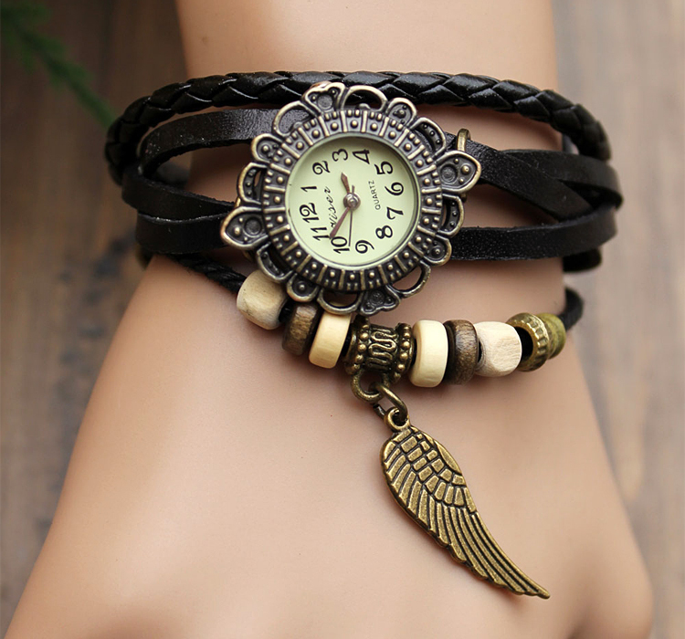 handmade leather strap watches woman girl quartz wrist watch bracelet watch black on luulla