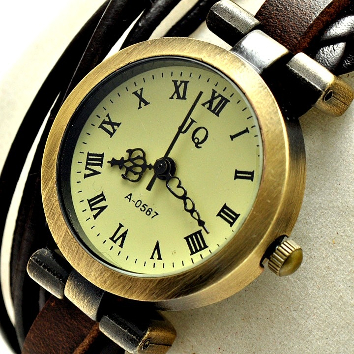 Vintage Analog Leather Weaving Lady Women Girl Quartz Clock Wrist Watches