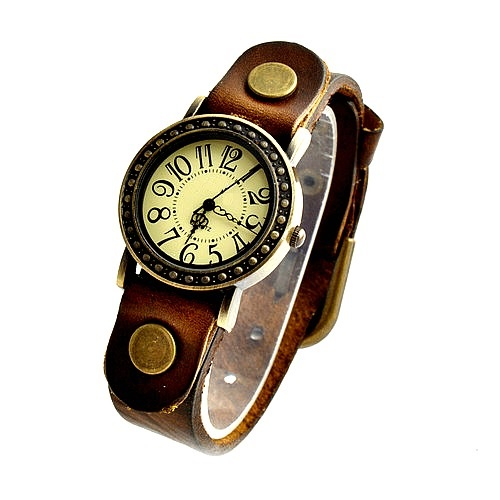 Vintage Leather Band Girl Lady Women Quartz Clock Wrist Watches Dark Brown