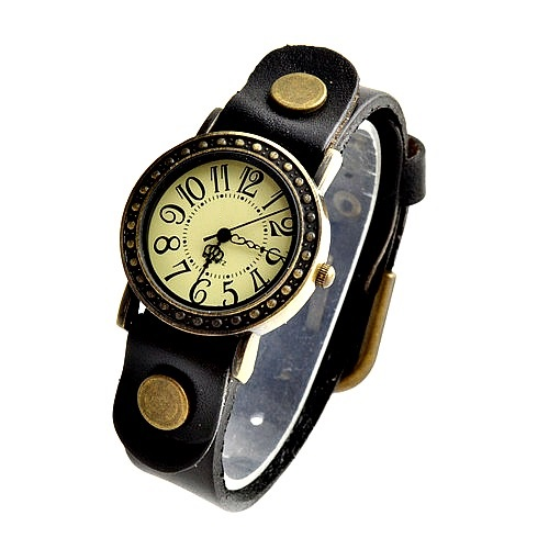 Vintage Leather Band Girl Lady Women Quartz Clock Wrist Watches Black