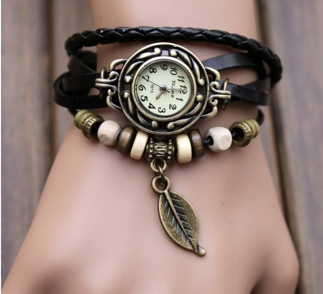 Handmade Vintage Style Leather Band Watches Woman Girl Lady Quartz Wrist Watch Black