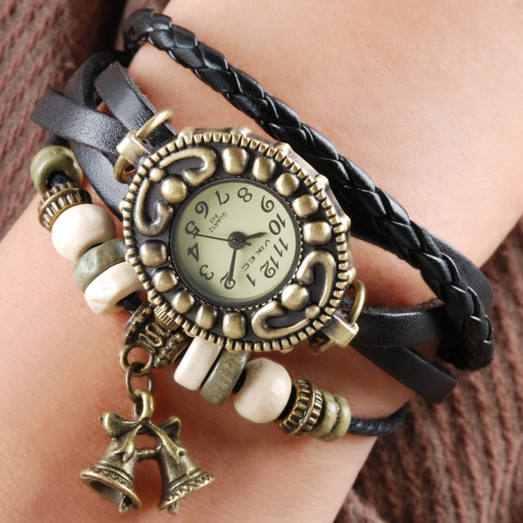 Handmade Vintage Quartz Weave Around Leather Bracelet Lady Woman Wrist Watch With Bell Charm Black