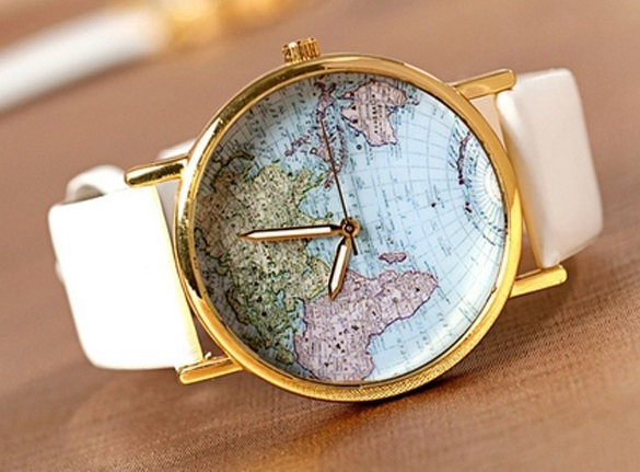 Vintage Leather Watchband Unisex World Map Wrist Watch For Men Lady Retro Round Quartz 4 Color Choices
