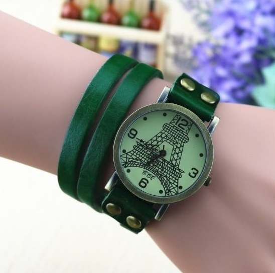Handmade Vintage Tower Face Wrap Leather Watchband Unisex Wrist Watch For Men Lady Retro Round Quartz Green