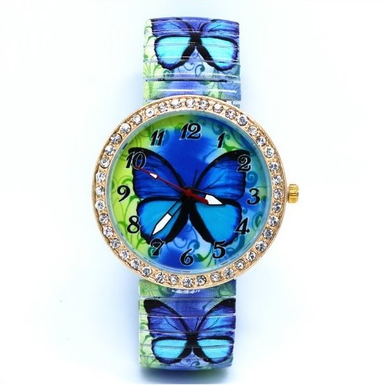 Butterfly Face Stainless Steel Band Unisex Wrist Watch For Men Lady Retro Round Quartz Watch