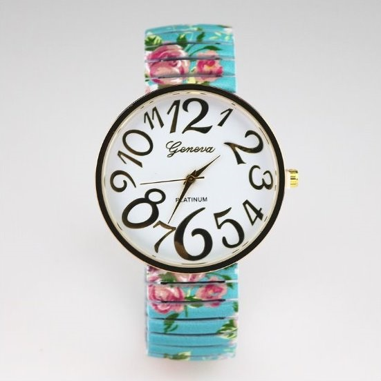 Vintage Flower Band Big Number Face Stainless Steel Band Unisex Wrist Watch For Men Lady Retro Round Quartz Watch Light Blue