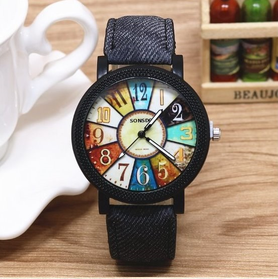 Retro Quartz Watch Leather Band Unisex Wrist Watch For Men Lady Retro Round Quartz Watch Black