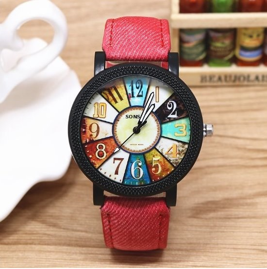 Retro Quartz Watch Leather Band Unisex Wrist Watch For Men Lady Retro Round Quartz Watch Red