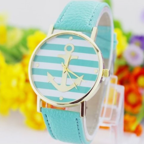 Anchor Retro Quartz Watch Leather Band Unisex Wrist Watch For Men Lady Retro Round Quartz Watch Mint