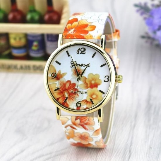 Vintage Flower Retro Quartz Watch Leather Band Unisex Wrist Watch For Men Lady Retro Round Quartz Watch Orange