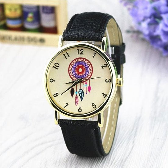 Catch Dream Retro Quartz Watch Leather Band Unisex Wrist Watch For Men Lady Retro Round Quartz Watch Black
