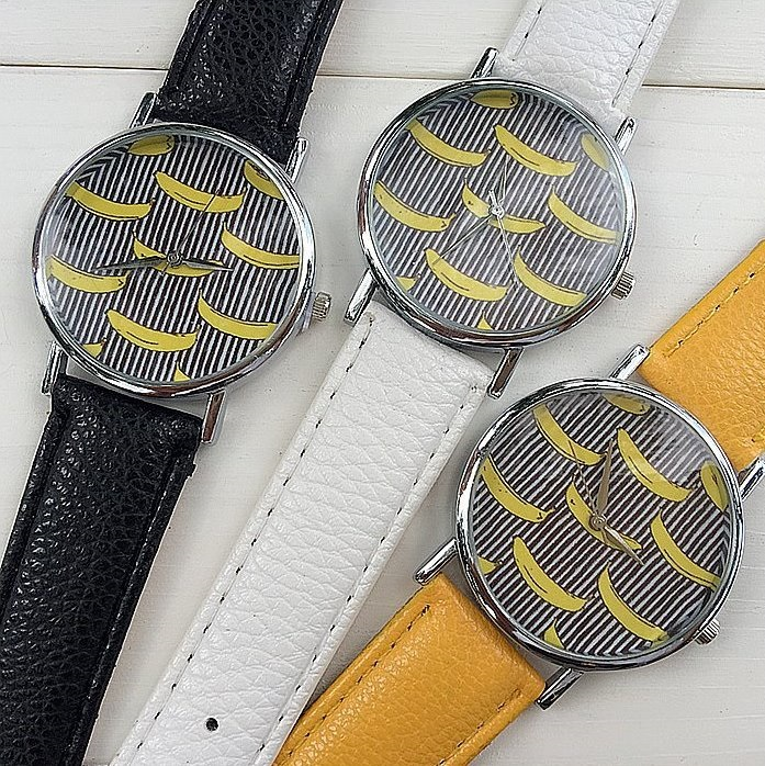 Banana Watch Retro Quartz Watch Leather Band Unisex Wrist Watch For Men Lady Retro Round Quartz Watch