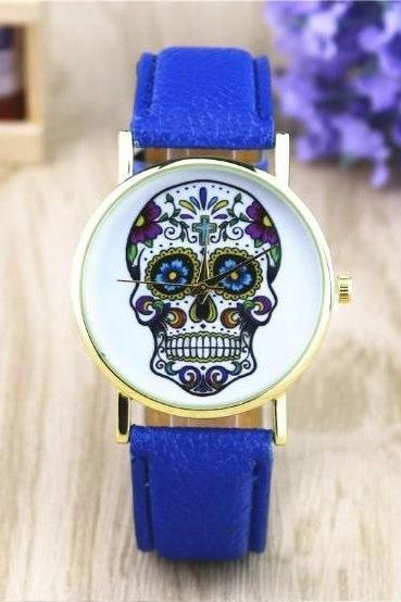 Handmade Vintage Suger Skull Face Leather Watchband Unisex Wrist Watch For Men Lady Retro Round Quartz Blue
