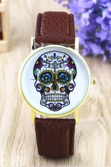 Handmade Vintage Suger Skull Face Leather Watchband Unisex Wrist Watch For Men Lady Retro Round Quartz Dark Brown