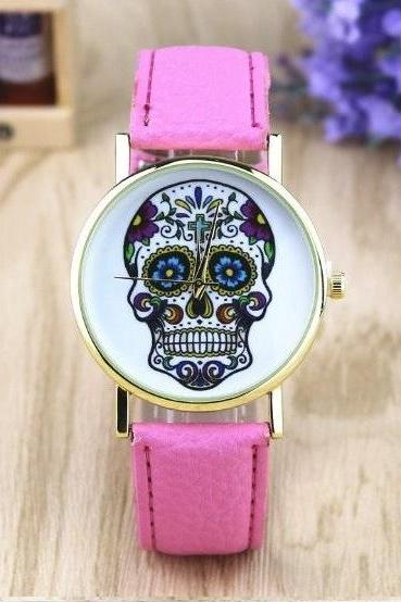 Handmade Vintage Suger Skull Face Leather Watchband Unisex Wrist Watch For Men Lady Retro Round Quartz Pink