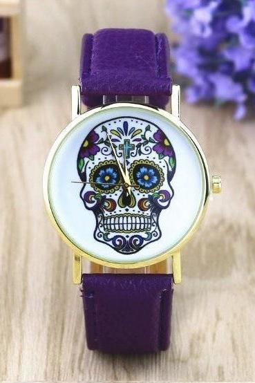 Handmade Vintage Suger Skull Face Leather Watchband Unisex Wrist Watch For Men Lady Retro Round Quartz Purple