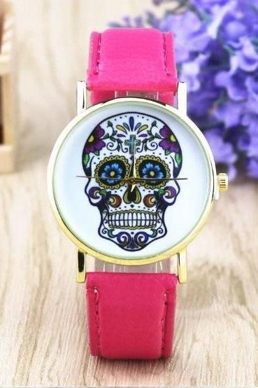 Handmade Vintage Suger Skull Face Leather Watchband Unisex Wrist Watch For Men Lady Retro Round Quartz Hot Pink