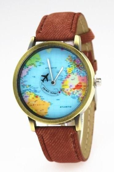 Vintage World Map Face Leather Watchband Unisex Wrist Watch For Men Lady Retro Round Quartz Brown
