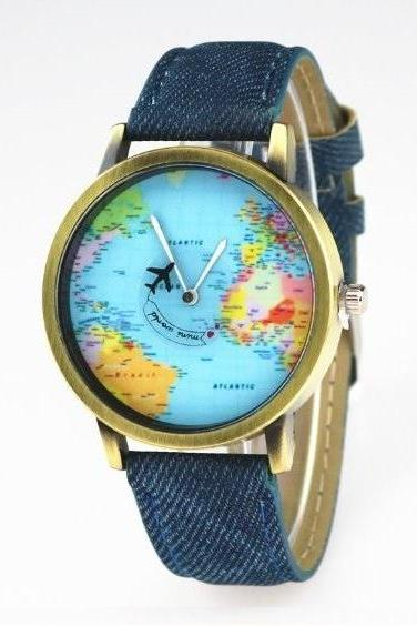 Handmade Vintage World Map Face Leather Watchband Unisex Wrist Watch For Men Lady Retro Round Quartz Blue