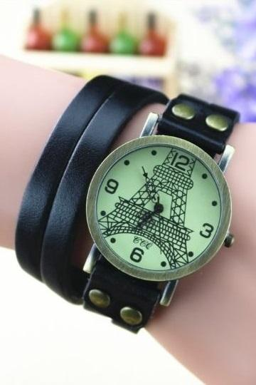 Handmade Vintage Tower Face Wrap Leather Watchband Unisex Wrist Watch For Men Lady Retro Round Quartz Black