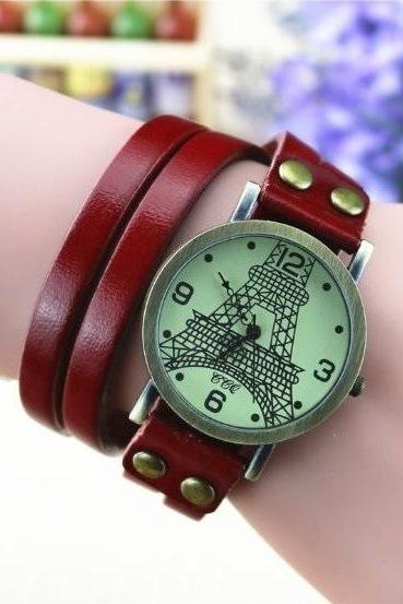Handmade Vintage Tower Face Wrap Leather Watchband Unisex Wrist Watch For Men Lady Retro Round Quartz Red