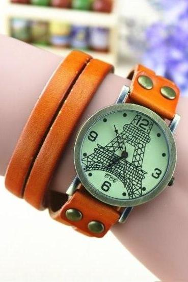 Handmade Vintage Tower Face Wrap Leather Watchband Unisex Wrist Watch For Men Lady Retro Round Quartz Light Brown