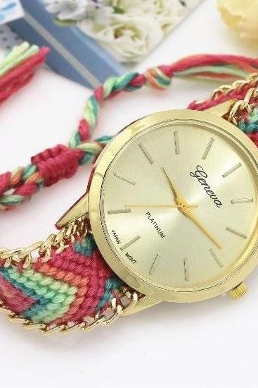 Retro Colorful Weave Band Quartz Watch Unisex Wrist Watch For Men Lady Retro Round Quartz Watch Pattern 1