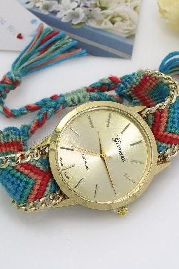 Retro Colorful Weave Band Quartz Watch Unisex Wrist Watch For Men Lady Retro Round Quartz Watch Pattern 2