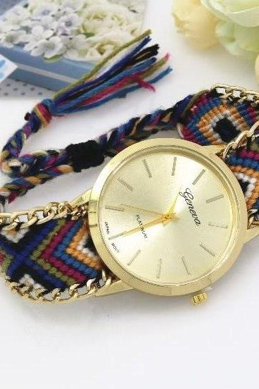 Retro Colorful Weave Band Quartz Watch Unisex Wrist Watch For Men Lady Retro Round Quartz Watch Pattern 4