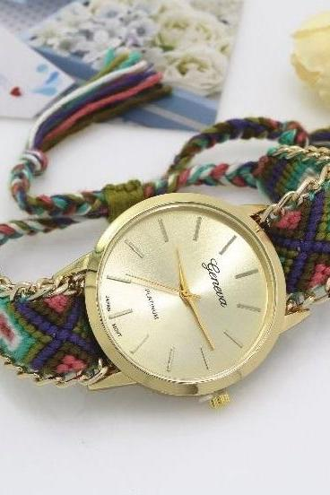 Retro Colorful Weave Band Quartz Watch Unisex Wrist Watch For Men Lady Retro Round Quartz Watch Pattern 6