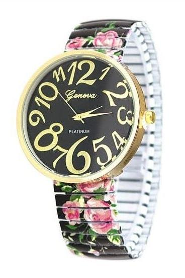 Vintage Flower Band Big Number Face Stainless Steel Band Unisex Wrist Watch For Men Lady Retro Round Quartz Watch Black