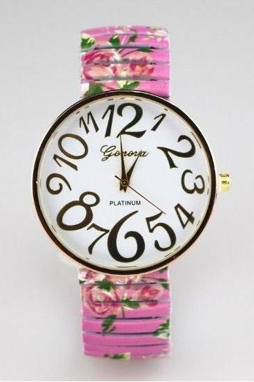 Vintage Flower Band Big Number Face Stainless Steel Band Unisex Wrist Watch For Men Lady Retro Round Quartz Watch Pink