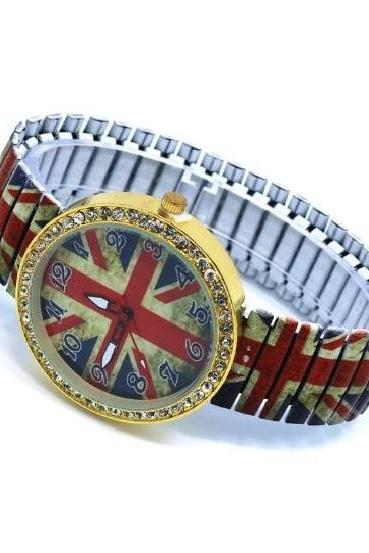 UK Flag Stainless Steel Band Unisex Wrist Watch For Men Lady Retro Round Quartz Watch