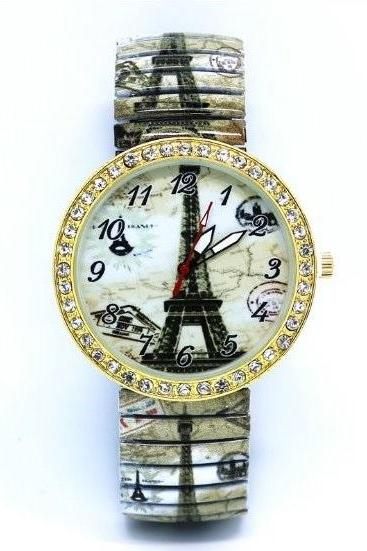 Paris Tower Stainless Steel Band Unisex Wrist Watch For Men Lady Retro Round Quartz Watch