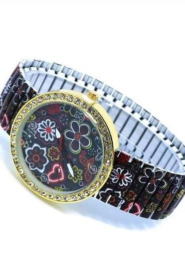 Vintage Flower Face Stainless Steel Band Unisex Wrist Watch For Men Lady Retro Round Quartz Watch Pattern 1