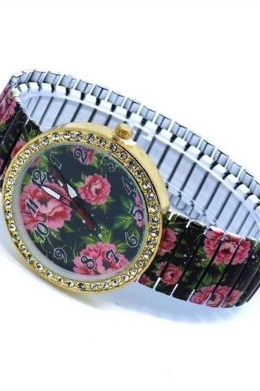 Vintage Flower Face Stainless Steel Band Unisex Wrist Watch For Men Lady Retro Round Quartz Watch Pattern 2