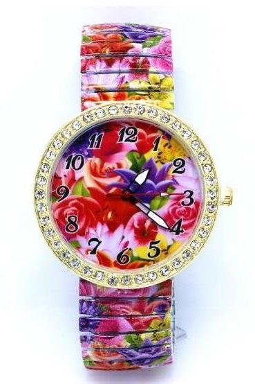 Vintage Flower Face Stainless Steel Band Unisex Wrist Watch For Men Lady Retro Round Quartz Watch Pattern 4